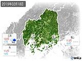 2019年02月18日の広島県の実況天気
