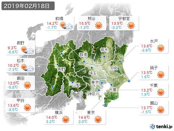 関東・甲信地方(2019年02月18日の天気