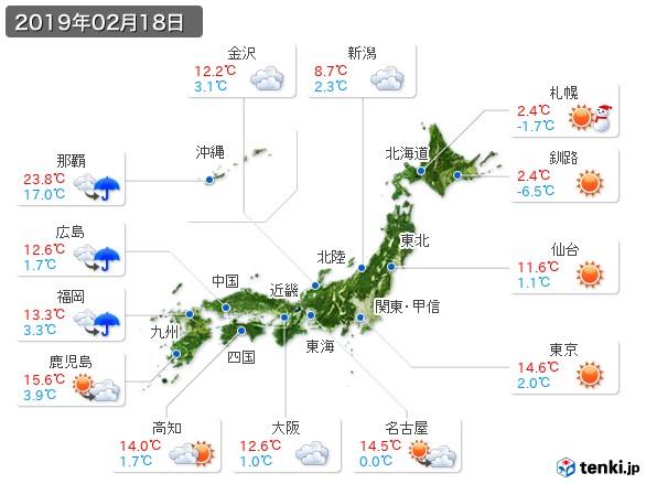 (2019年02月18日の天気