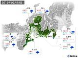 2019年02月19日の東海地方の実況天気