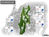2019年02月19日の長野県の実況天気