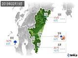 2019年02月19日の宮崎県の実況天気