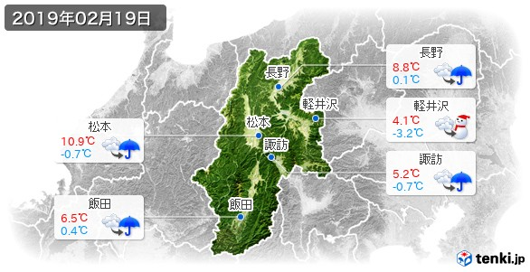 長野県(2019年02月19日の天気