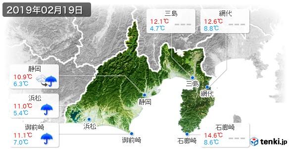 静岡県(2019年02月19日の天気