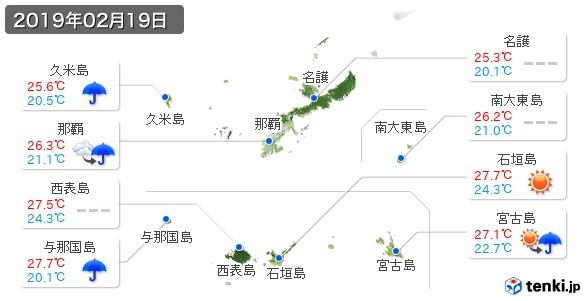 沖縄県(2019年02月19日の天気