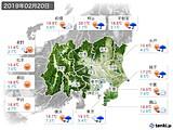 2019年02月20日の関東・甲信地方の実況天気