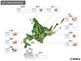 2019年02月25日の北海道地方の実況天気