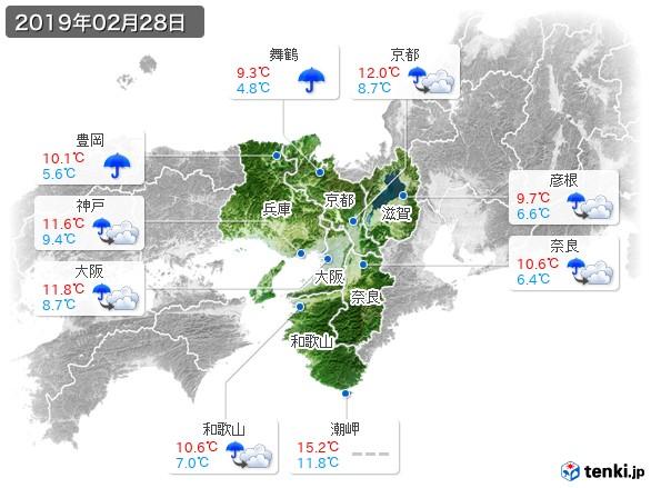近畿地方(2019年02月28日の天気