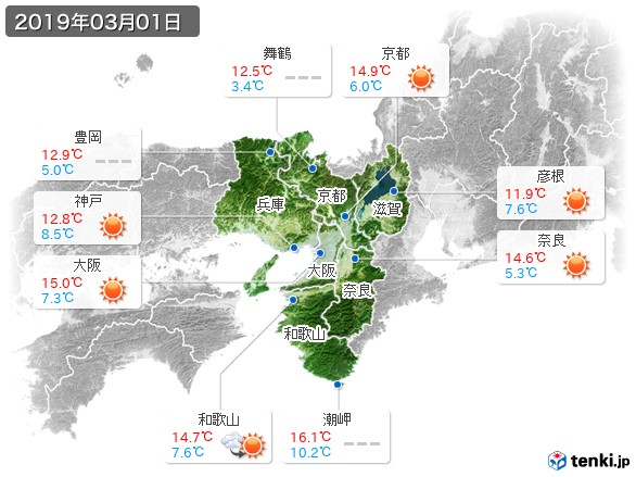 近畿地方(2019年03月01日の天気