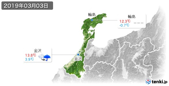 石川県(2019年03月03日の天気