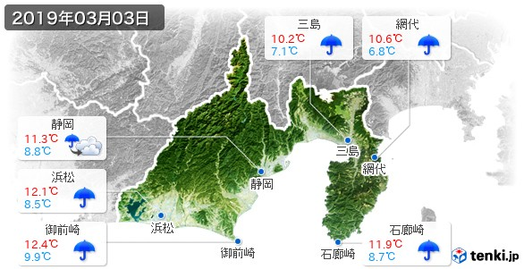 静岡県(2019年03月03日の天気