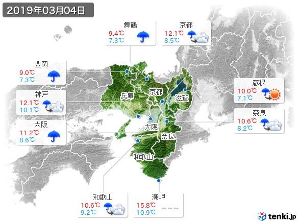 近畿地方(2019年03月04日の天気