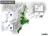 2019年03月07日の三重県の実況天気