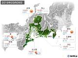 2019年03月09日の東海地方の実況天気