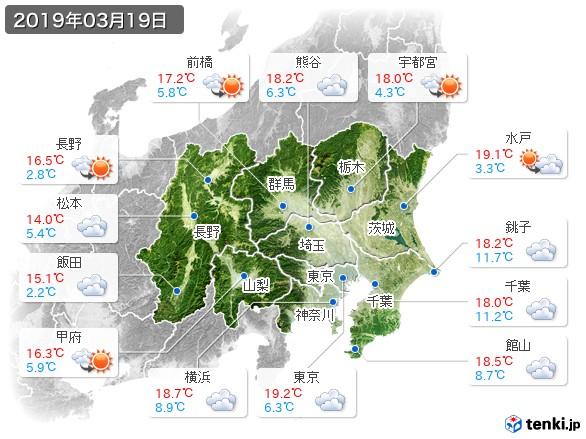 関東・甲信地方(2019年03月19日の天気