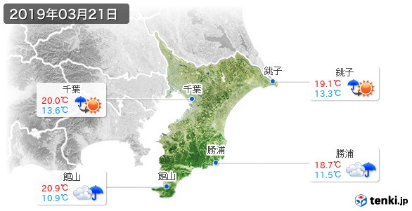 千葉県(2019年03月21日の天気