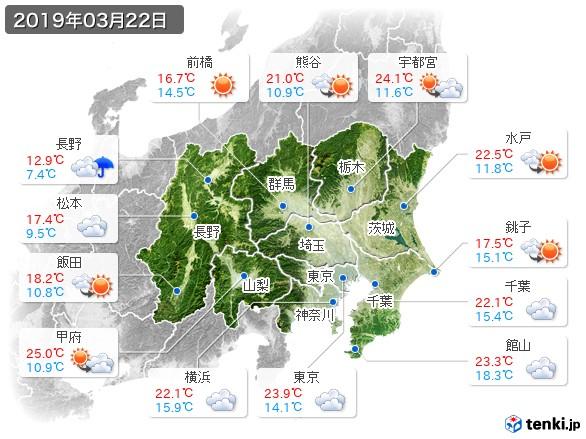 関東・甲信地方(2019年03月22日の天気