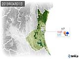 2019年04月01日の茨城県の実況天気