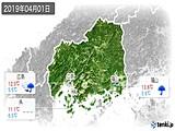 2019年04月01日の広島県の実況天気