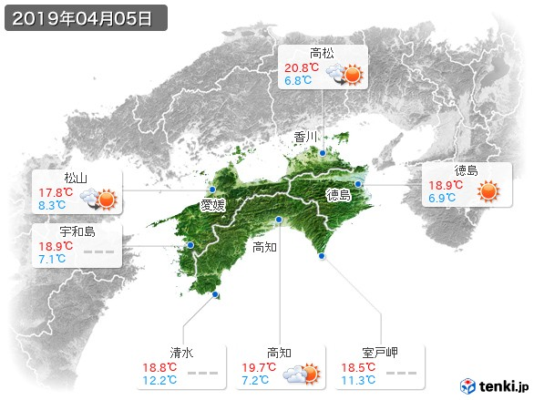 四国地方(2019年04月05日の天気