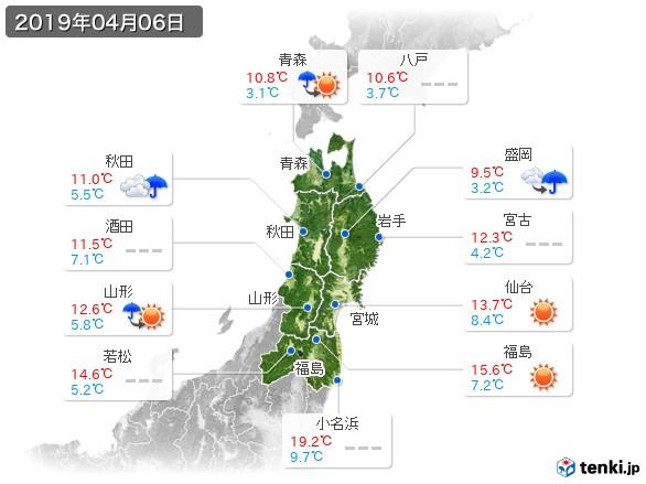 東北地方(2019年04月06日の天気