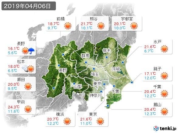 関東・甲信地方(2019年04月06日の天気