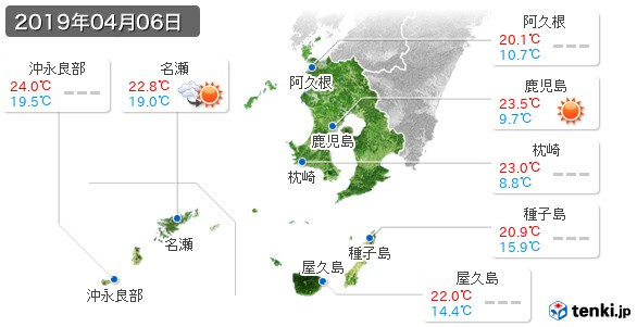 鹿児島県(2019年04月06日の天気