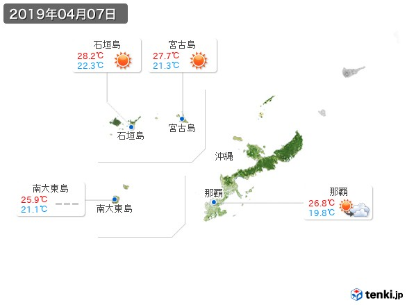 沖縄地方(2019年04月07日の天気