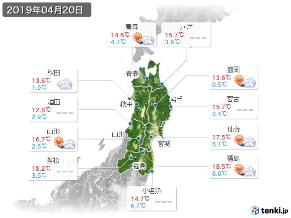 東北地方(2019年04月20日の天気
