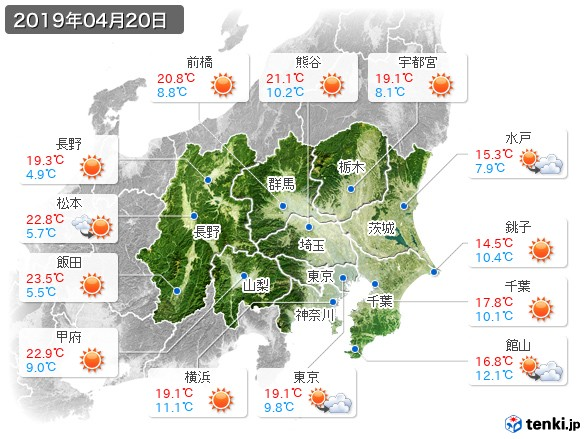 関東・甲信地方(2019年04月20日の天気