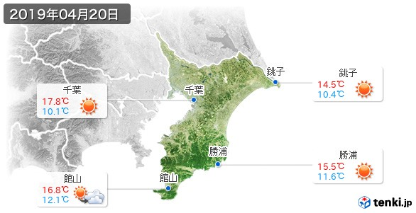 千葉県(2019年04月20日の天気
