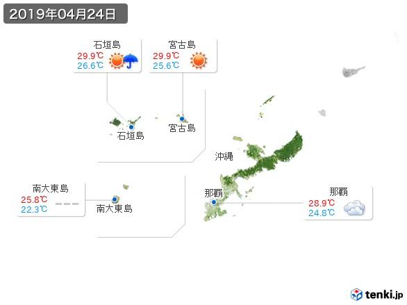 沖縄地方(2019年04月24日の天気