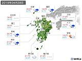 2019年04月28日の九州地方の実況天気