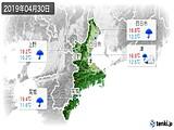 2019年04月30日の三重県の実況天気