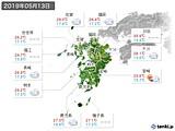 2019年05月13日の九州地方の実況天気