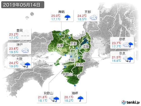 近畿地方(2019年05月14日の天気