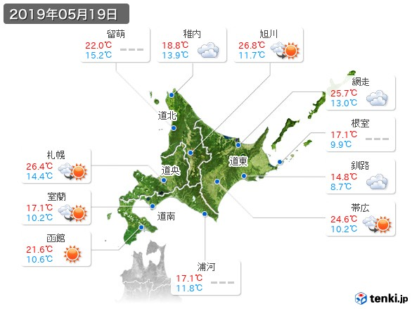 北海道地方(2019年05月19日の天気
