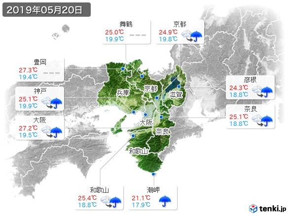 近畿地方(2019年05月20日の天気