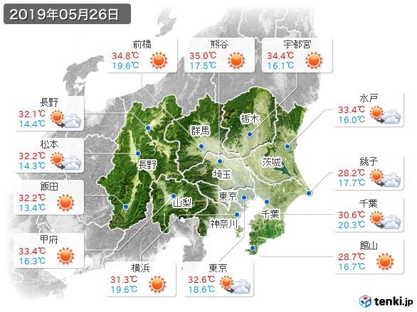 関東・甲信地方(2019年05月26日の天気