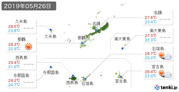 沖縄県(2019年05月26日の天気