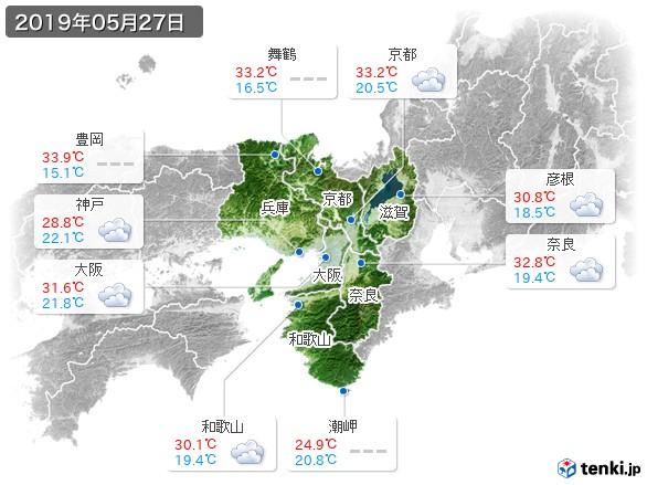 近畿地方(2019年05月27日の天気