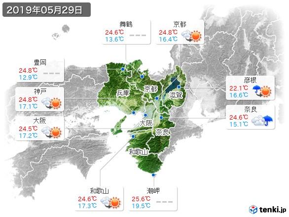 近畿地方(2019年05月29日の天気