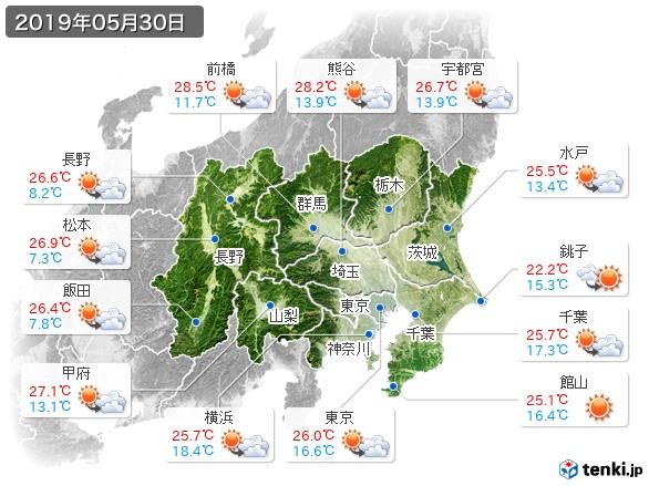 関東・甲信地方(2019年05月30日の天気