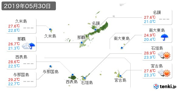 沖縄県(2019年05月30日の天気