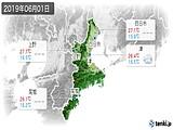 2019年06月01日の三重県の実況天気