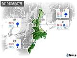 2019年06月07日の三重県の実況天気