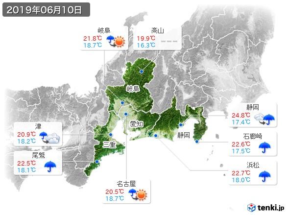 東海地方(2019年06月10日の天気