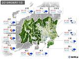 2019年06月11日の関東・甲信地方の実況天気