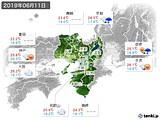 2019年06月11日の近畿地方の実況天気