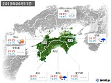 2019年06月11日の四国地方の実況天気